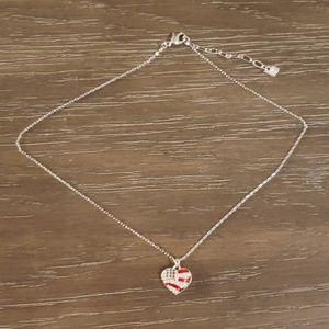 Swarovski Crystal Silver Heart Flag Necklace